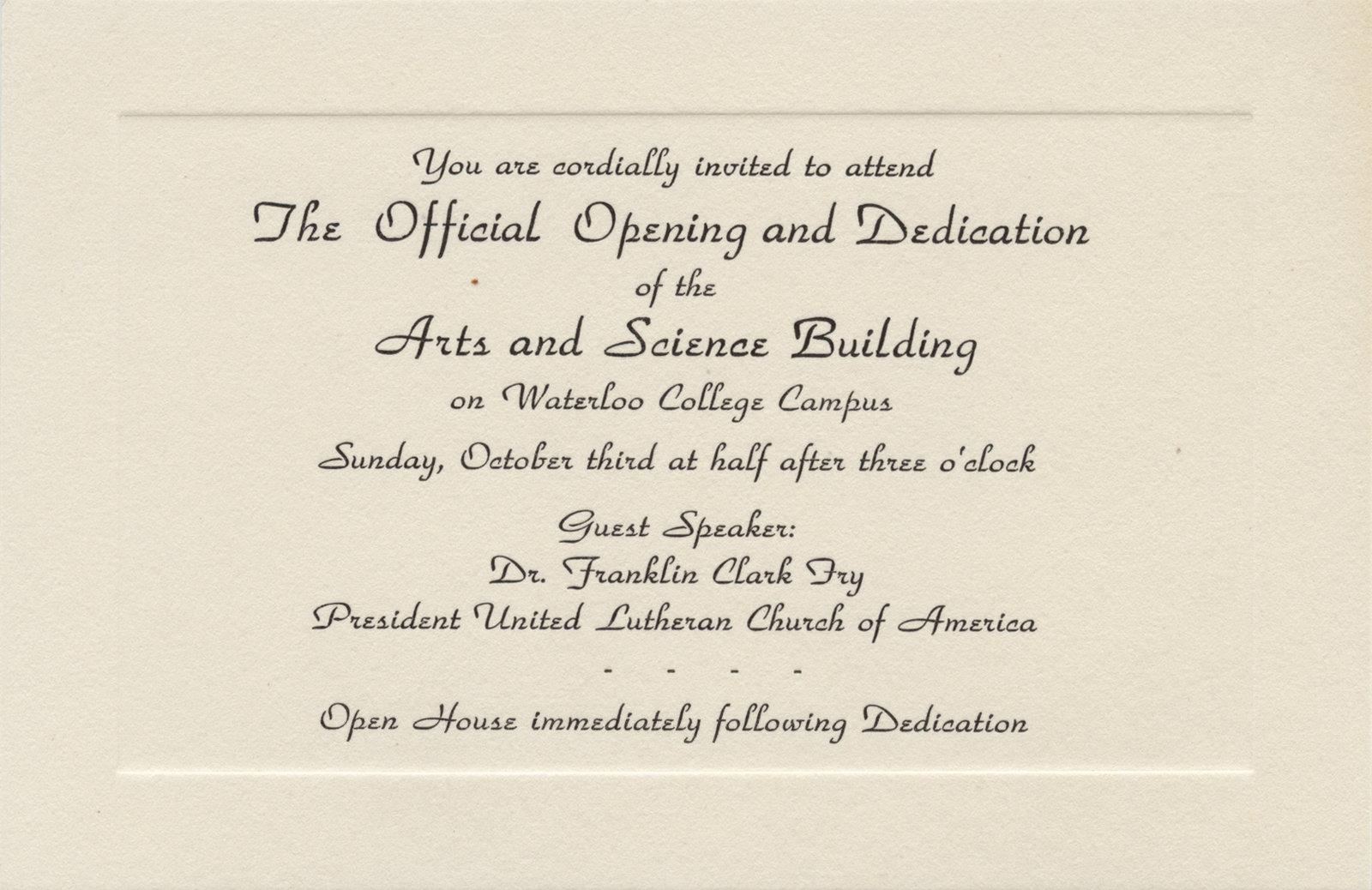 House dedication invitation