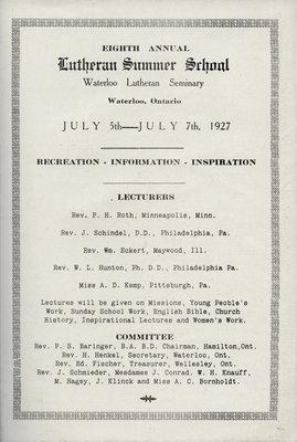 Eighth annual Lutheran Summer School program, 1927