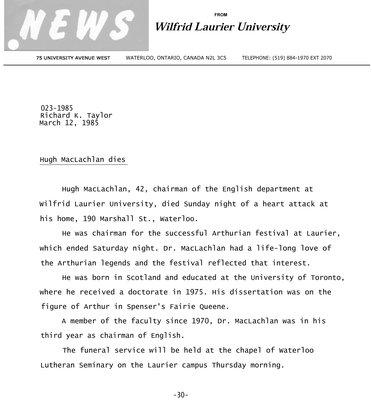 023a-1985 : Hugh MacLachlan dies