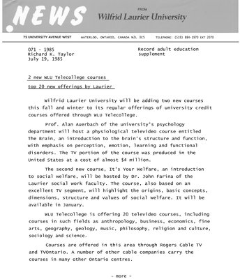 071-1985 : 2 new WLU Telecollege courses top 20 new offerings by Laurier