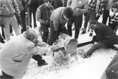 Log cutting at Winter Carnival 1985