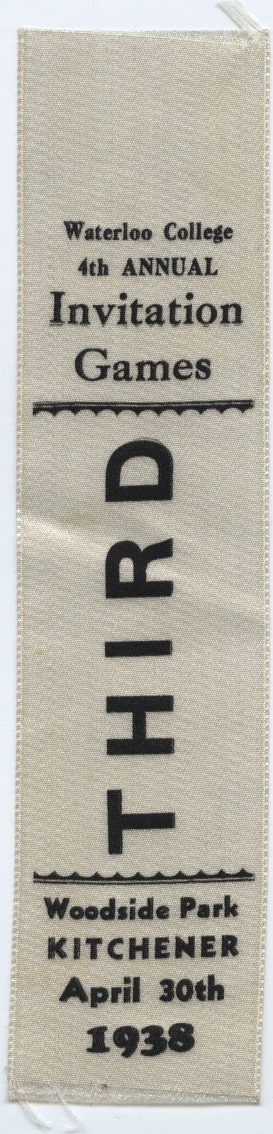 Third place ribbon, 1938 Waterloo College Invitation Games
