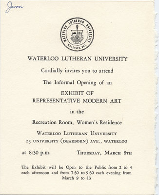 Invitation to an exhibit of modern art at Waterloo Lutheran University, 1962
