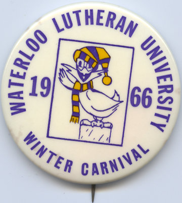 Waterloo Lutheran University 1966 Winter Carnival button
