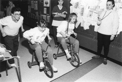 Wilfrid Laurier University winter carnival tricycle race, 1988