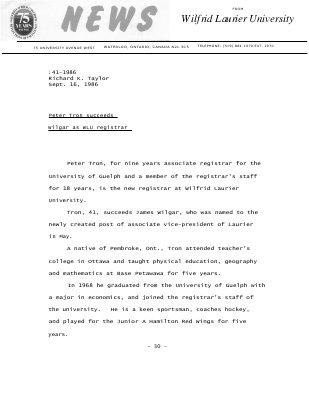 141-1986 : Peter Tron succeeds Wilgar as WLU registrar