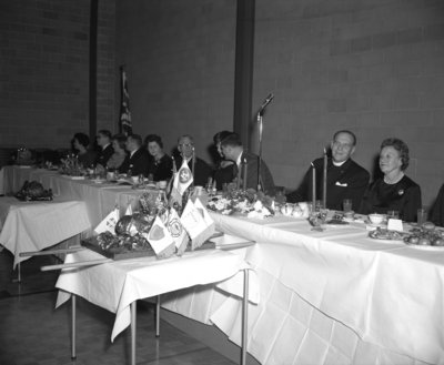 Head table at Waterloo Lutheran University Boar's Head Dinner, 1963
