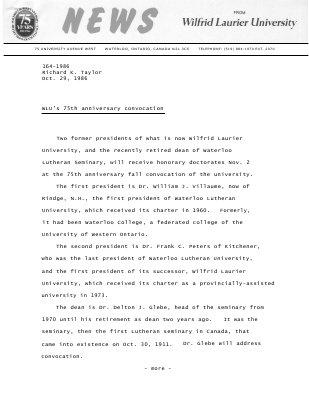 164-1986 : WLU's 75th anniversary convocation