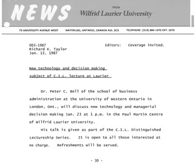 003-1987 : New technology and decision making subject of C.I.L. lecture at Laurier