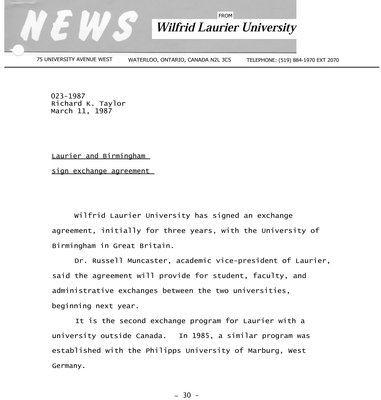023-1987 : Laurier and Birmingham sign exchange agreement