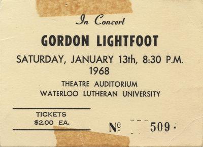 Ticket - In concert: Gordon Lightfoot, January 13, 1968