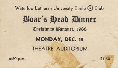 Boar's Head Dinner ticket, 1966