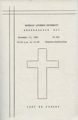 Remembrance Day Program, 1965