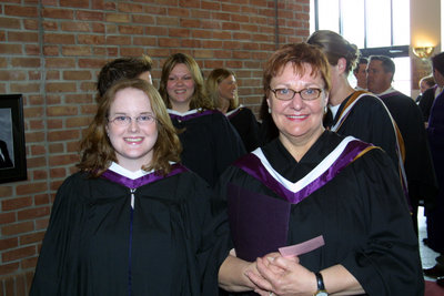Two women at Laurier Brantford spring convocation 2004
