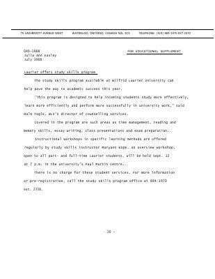 048-1988 : Laurier offers study skills program