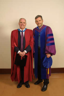 Rowland Smith and Leo Groarke at Laurier Brantford spring convocation 2004
