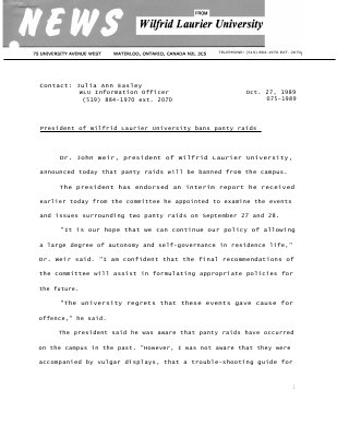 075-1989 : President of Wilfrid Laurier University bans panty raids