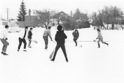 Broomball game at Waterloo Lutheran University Winter Carnival 1968