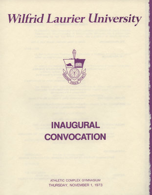 Wilfrid Laurier University inaugural convocation program, 1973