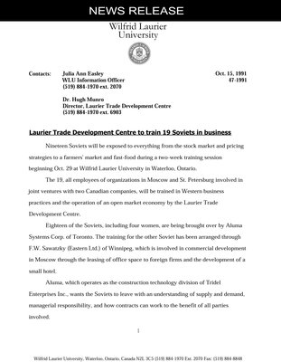 047-1991 : Laurier Trade Development Centre to train 19 Soviets in business