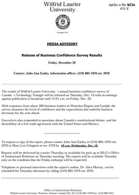 058-1991 : Release of Business Confidence Survey Results