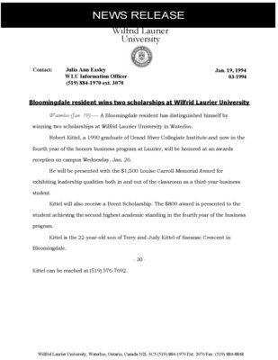 003-1994 : Bloomingdale resident wins two scholarships at Wilfrid Laurier University