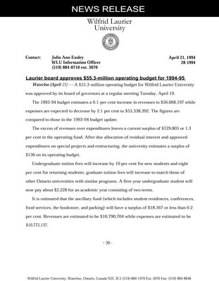 028-1994 : Laurier board approves $55.3-million operating budget for 1994-95