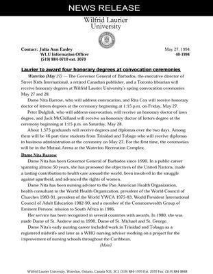 40-1994 : Laurier to award four honorary degrees at convocation ceremonies