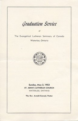 Graduation service the Evangelical Lutheran Seminary of Canada, 1953
