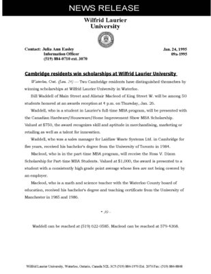 09a-1995 : Cambridge residents win scholarships at Wilfrid Laurier University