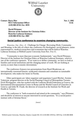 73-1995 : Social justice conference to examine changing community