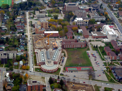 Aerial view of Wilfrid Laurier University campus, 2002