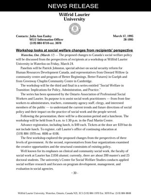 28-1995 : Workshop looks at social welfare changes from recipients' perspective