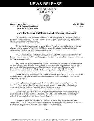 28-1996 : John Banks wins first Glenn Carroll Teaching Fellowship