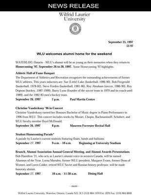 53-1997 : WLU welcomes alumni home for the weekend