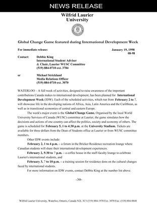 08-1998 : Global change game featured during International Development Week