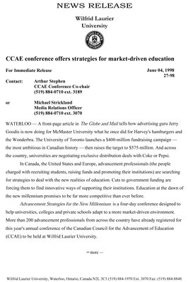 27-1998 : CCAE conference offers strategies for market-driven education