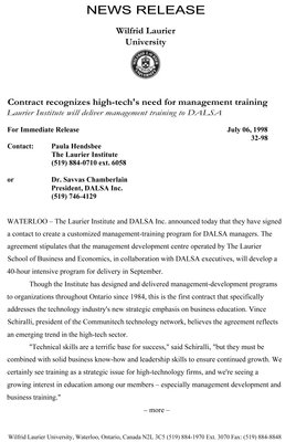 32-1998 : Contract recognizes high-tech's need for management training