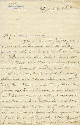 C. H. Little to Candace Little, April 29, 1893
