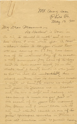Letter from C. H. Little to Candace Little, May 13, 1900