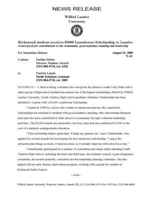 71-2000 : Richmond student receives $3000 Lansdowne Scholarship at Laurier
