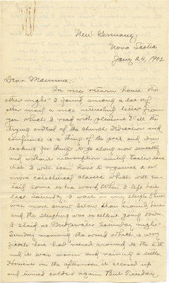 Letter from C. H. Little to Candace Little, January 24, 1902