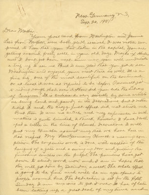 Letter from C. H. Little to Candace Little, September 20, 1907