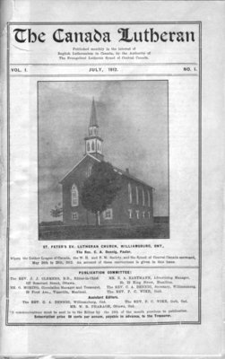 The Canada Lutheran, vol. 1, no. 1, July 1912