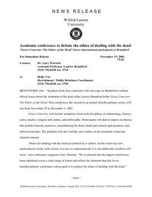 79-2001 : Academic conference to debate the ethics of dealing with the dead