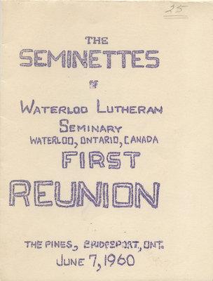 Seminette Club first reunion menu and program, 1960