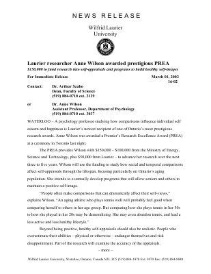 16-2002 : Laurier researcher Anne Wilson awarded prestigious PREA