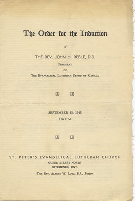 The Order for the Induction of Rev. John H. Reble, 1945