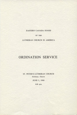 Eastern Canada Synod of the Lutheran Church in America Ordination Service program, 1968