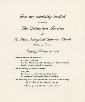 Invitation to the dedication services of St Peters Evangelical